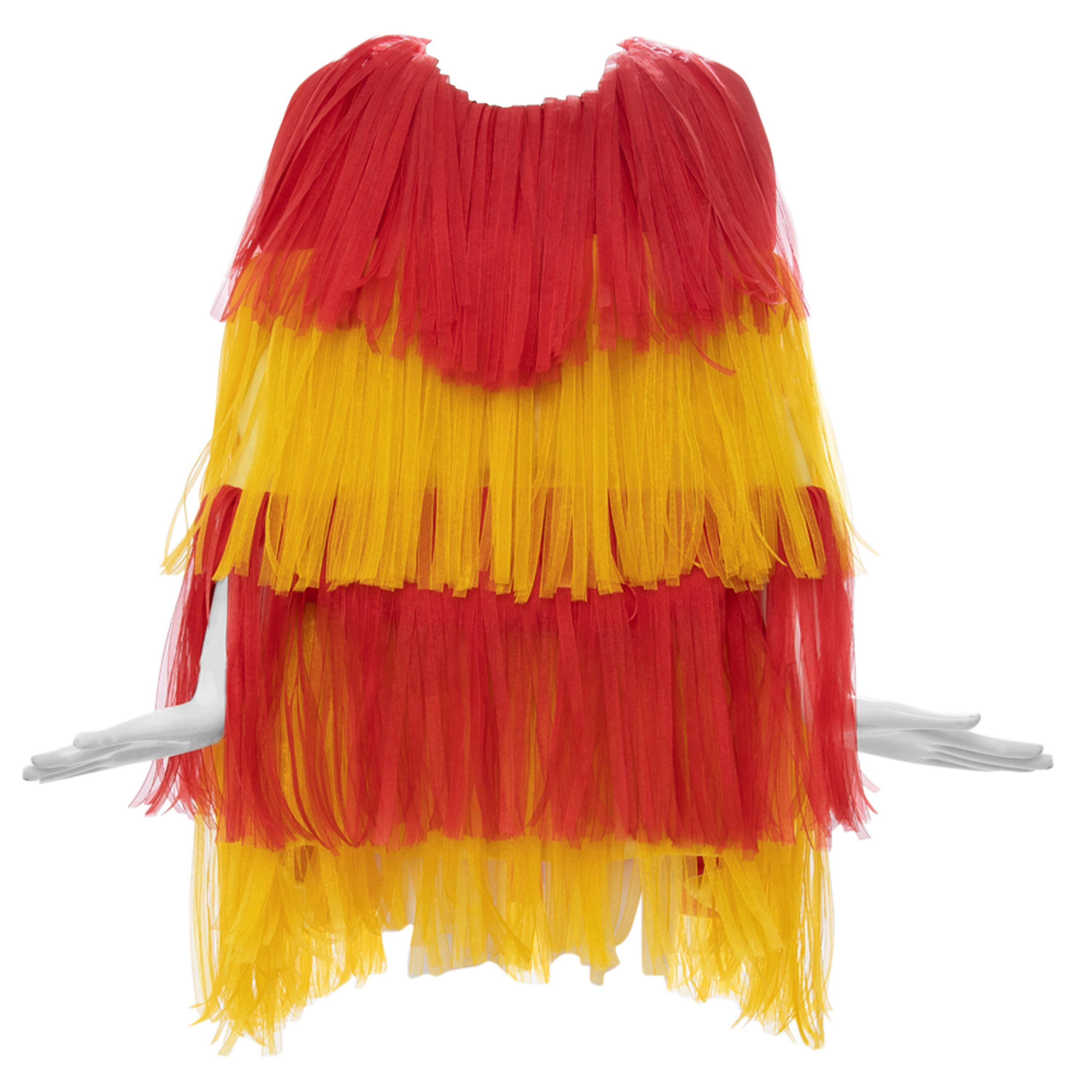 Moschino Couture Runway Silk Fringe Car Wash Evening Dress, Spring 2016