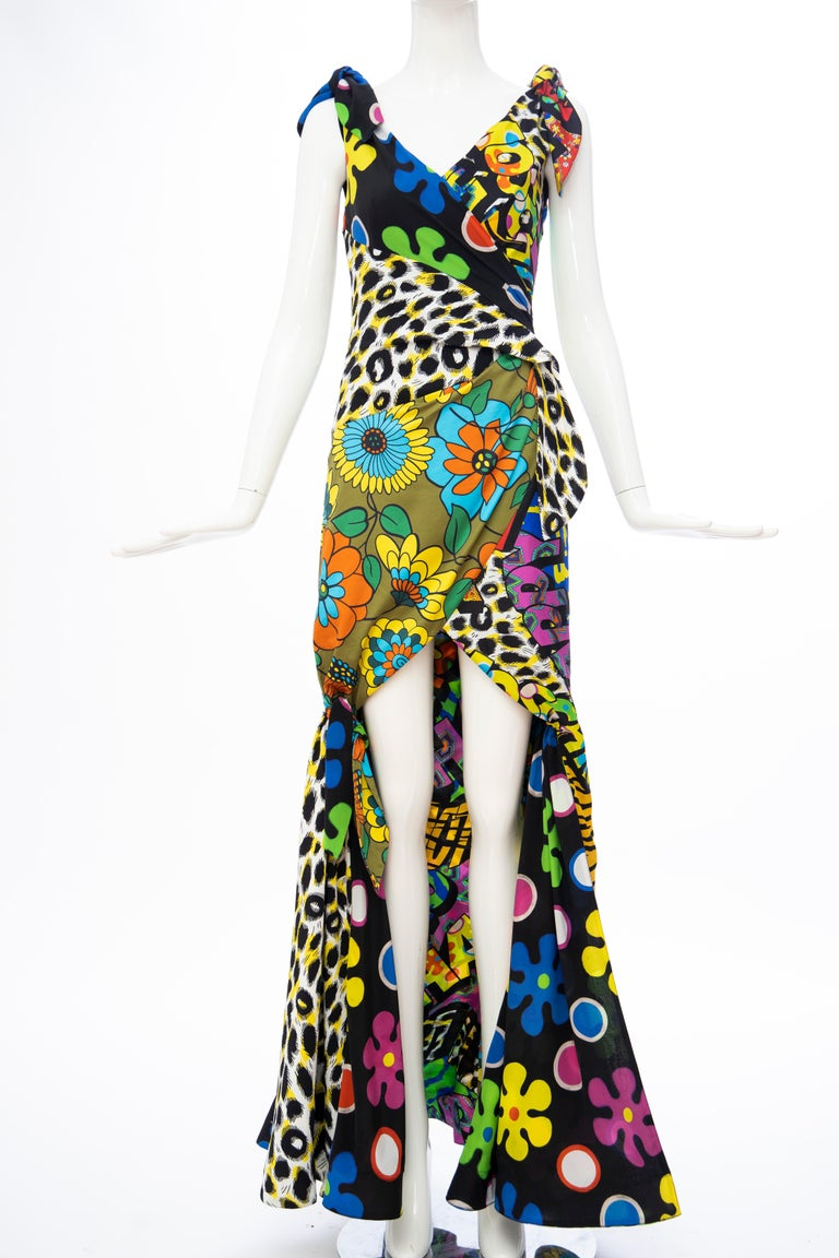 Beige Moschino Couture Runway Silk Multi Printed High-Low Evening Dress, Resort 2017 For Sale