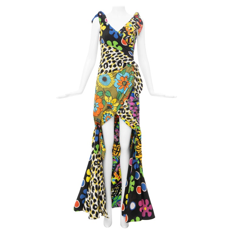 Moschino Couture Runway Silk Multi Printed High-Low Evening Dress, Resort 2017 For Sale