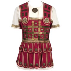 MOSCHINO COUTURE S/S 1989 Roman Centurion Red White Brass Metal Ornaments Jacket