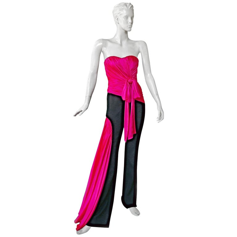 Moschino Couture Silk Bustier Tux Jumpsuit  Holiday Special Event Dressing   NWT For Sale