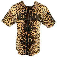 MOSCHINO COUTURE Size L Tan & Black Leopard Print Cotton Crew-Neck T-shirt