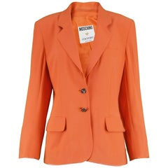 "Moschino Couture Vintage ""Born to Shop"" Orange Women's Blazer Jacket, 1990s"