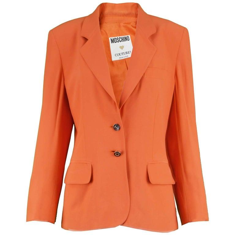 "Moschino Couture Vintage ""Born to Shop"" Orange Women's Blazer Jacket, 1990s"