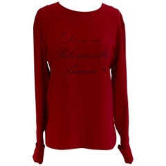 Moschino Couture Vintage 80s Dove Sei Palommella Bianca? Red Long Sleeve Blouse
