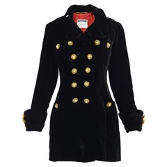 Moschino Couture Vintage Black Velvet Jacket with Ornate Smiley Buttons, 1990s