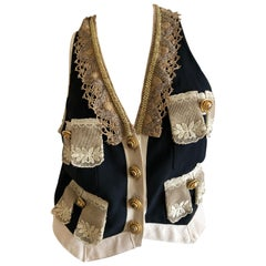 Moschino Couture Vintage Lace Trimmed Vest