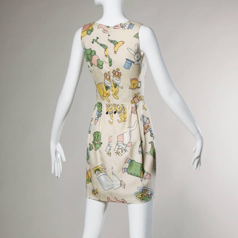 Beige Moschino Couture! Vintage Silk Pastel Cartoon Animal Print Dress For Sale