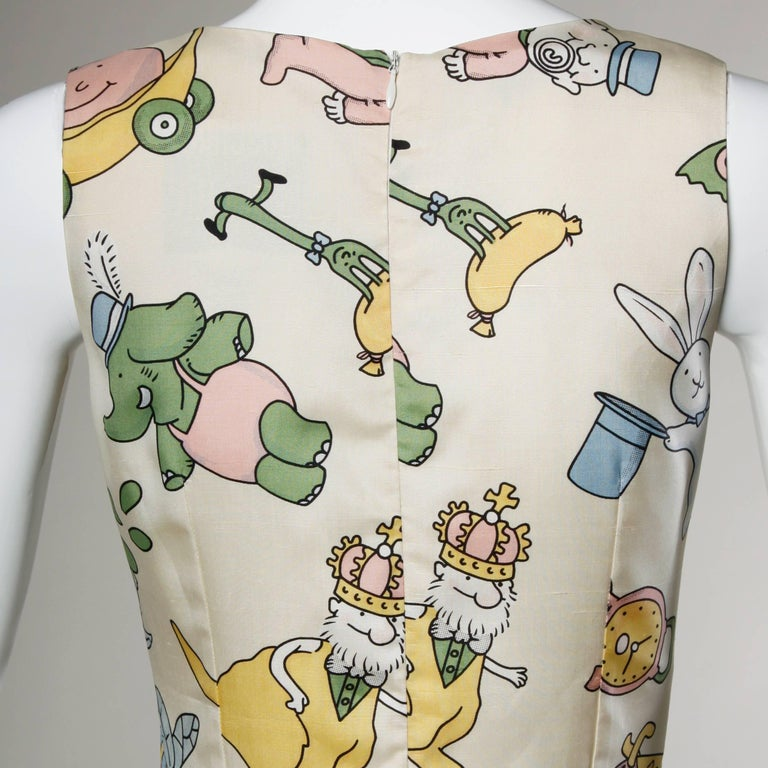 Women's Moschino Couture! Vintage Silk Pastel Cartoon Animal Print Dress For Sale
