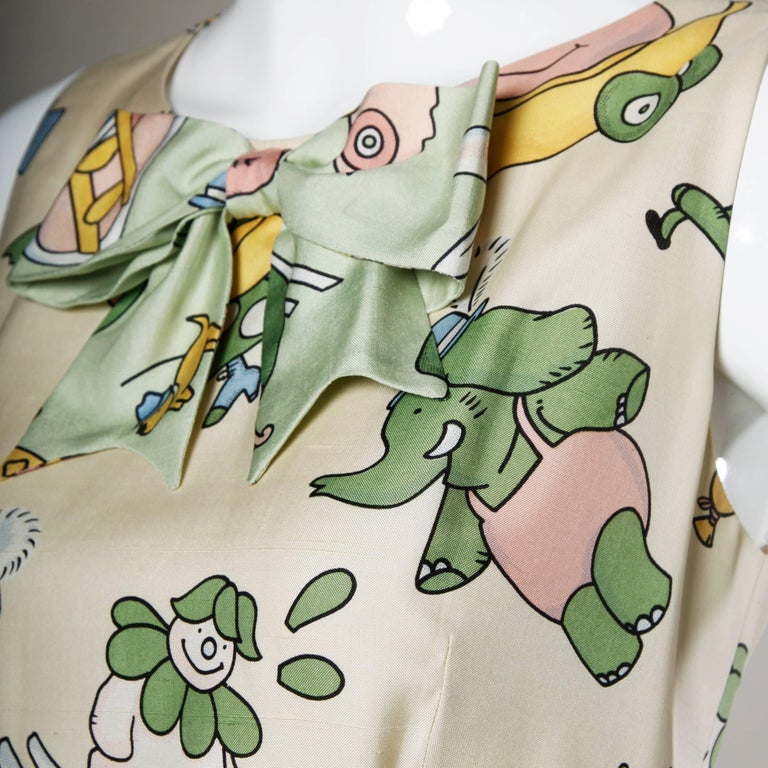 Moschino Couture! Vintage Silk Pastel Cartoon Animal Print Dress For Sale 2