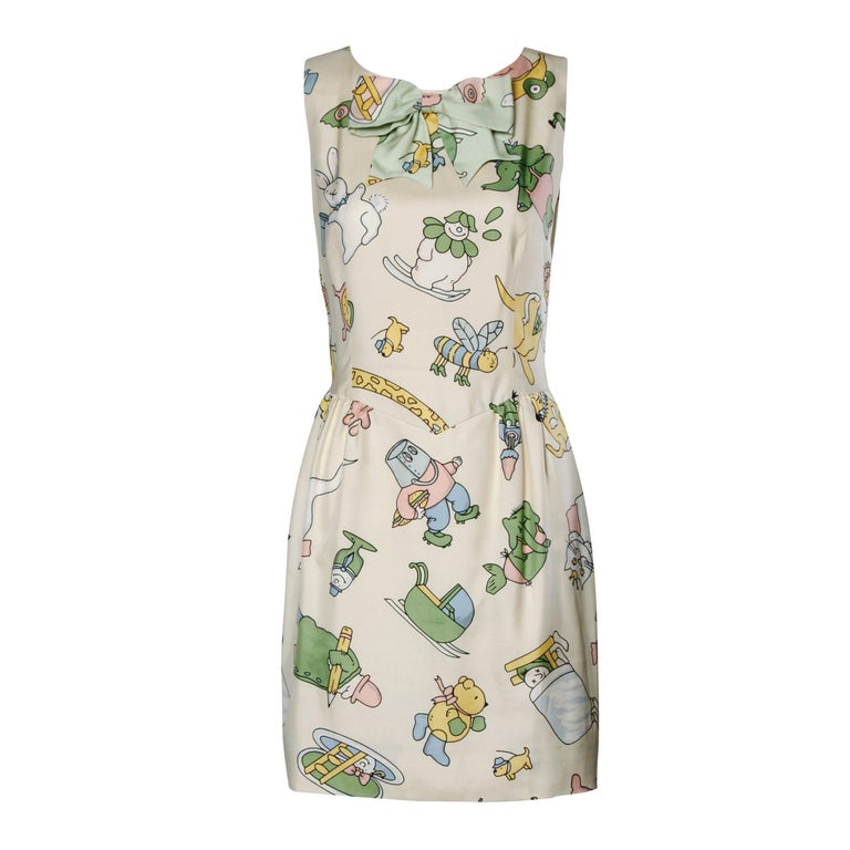 Moschino Couture! Vintage Silk Pastel Cartoon Animal Print Dress For Sale