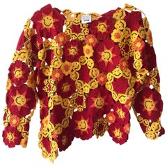 1990s Moschino Red and Yellow Crochet Smiley Acid Face Sweater