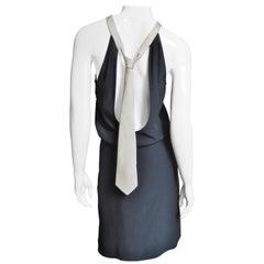 Moschino Cut out Back Silk Necktie Dress