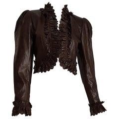 MOSCHINO dark brown leather unique piece perforated edges jacket - Unworn, New