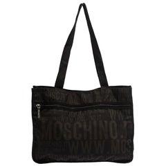 Moschino Dark Brown Signature Nylon Shopper Tote