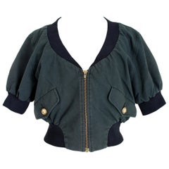 Moschino Dark Gray Black Cotton Bolero Jacket
