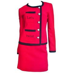 Moschino Embroidered Color Block Skirt Suit
