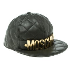 Moschino Fatigue Green Quilted Leather Lettering Cap M