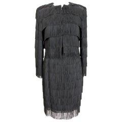 Moschino Fringed Black Evening Skirt Suit Dress Charleston 1990s