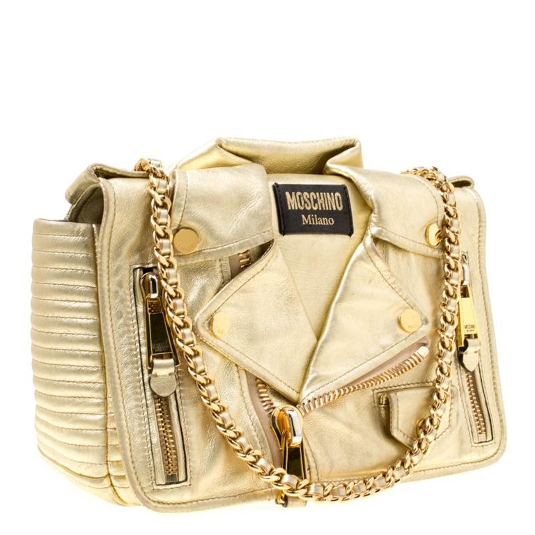 b51532f597 Moschino Gold Leather Large Biker Jacket Shoulder Bag In Good Condition For  Sale In Dubai,