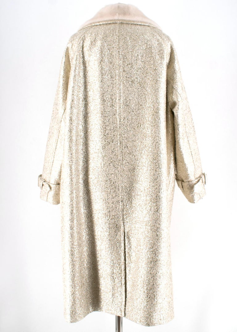 Moschino Gold Metallic Wool blend Coat with Mink Fur Collar 10 UK/ 42 IT In Excellent Condition For Sale In London, GB