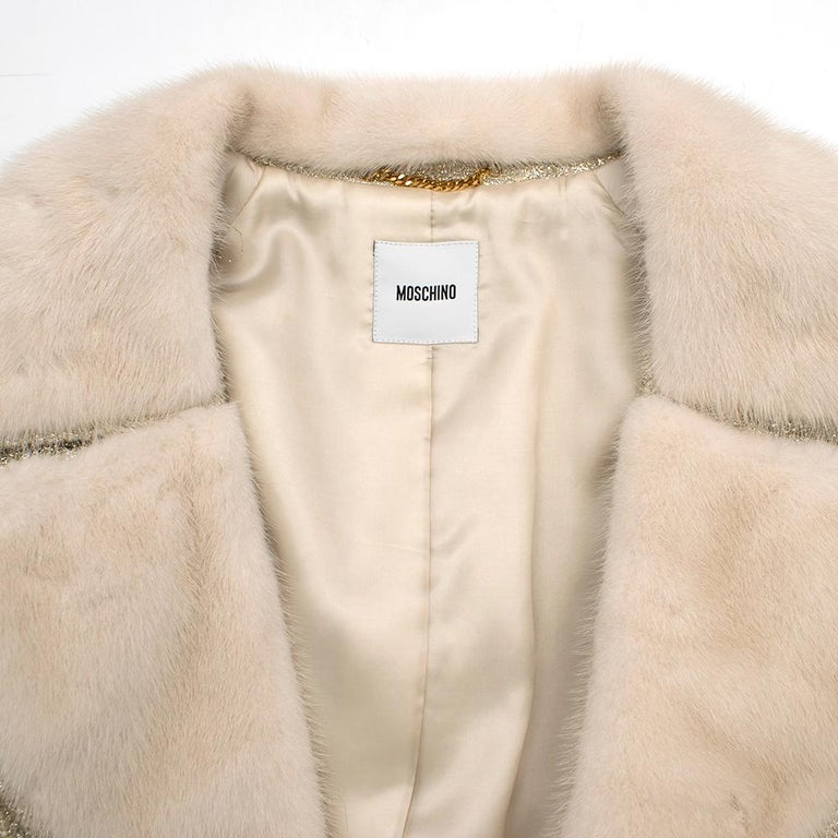 Women's Moschino Gold Metallic Wool blend Coat with Mink Fur Collar 10 UK/ 42 IT For Sale