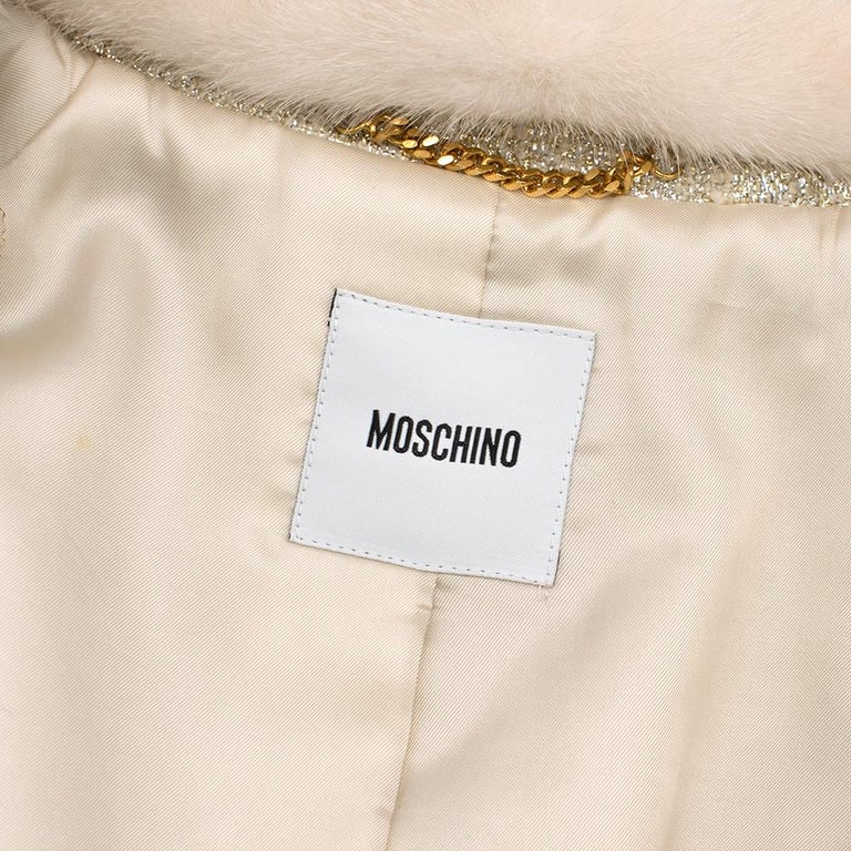 Moschino Gold Metallic Wool blend Coat with Mink Fur Collar 10 UK/ 42 IT For Sale 1
