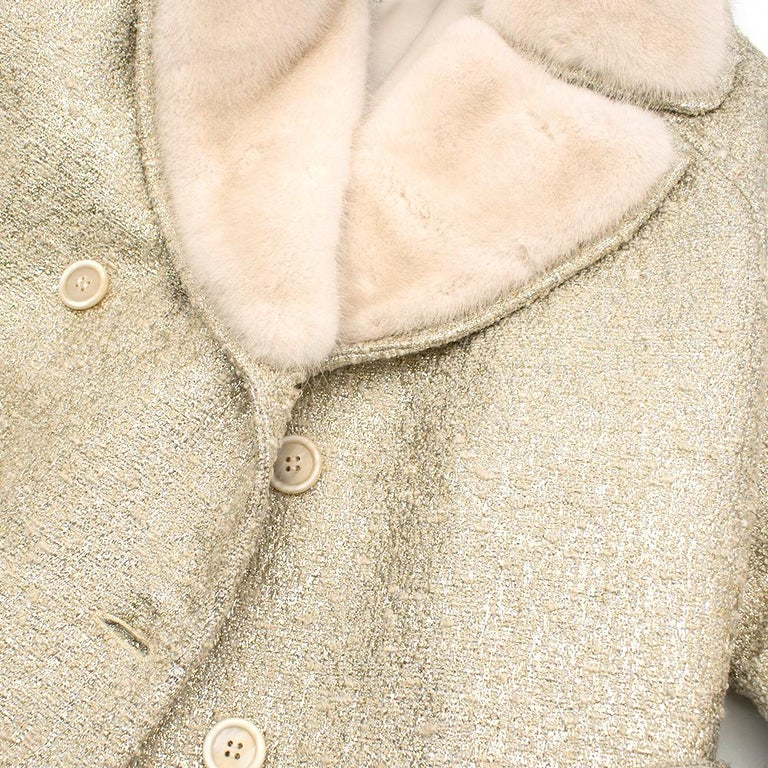 Moschino Gold Metallic Wool blend Coat with Mink Fur Collar 10 UK/ 42 IT For Sale 2