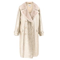 Moschino Gold Metallic Wool blend Coat with Mink Fur Collar 10 UK/ 42 IT