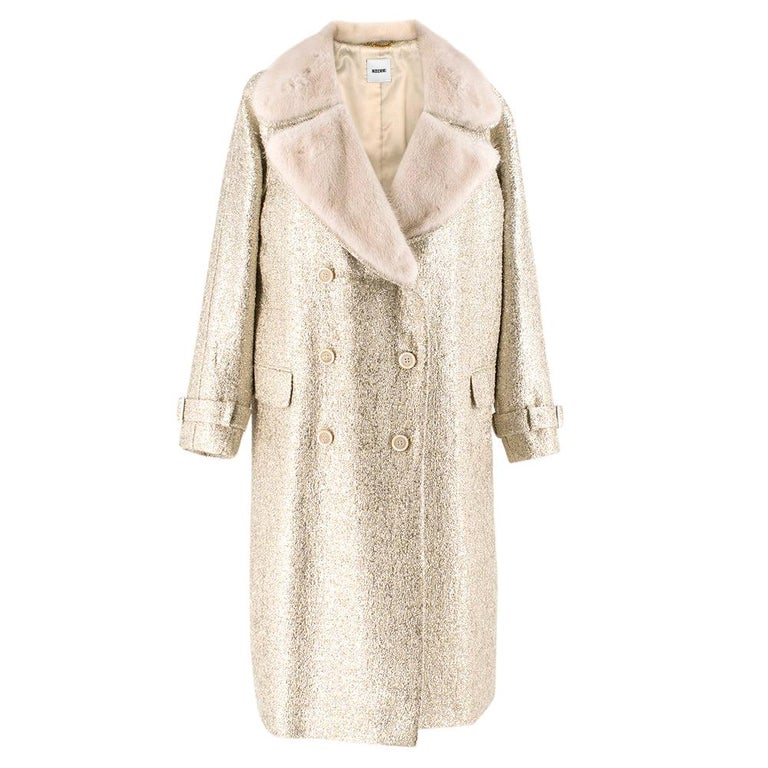 Moschino Gold Metallic Wool blend Coat with Mink Fur Collar 10 UK/ 42 IT For Sale