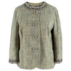 Moschino Green Tweed Crystal Embellished Jacket - Size XS