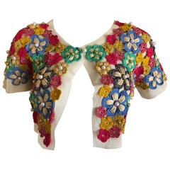 Moschino Hippy Chick Crochet Embellished Shrug for Cheap & Chic