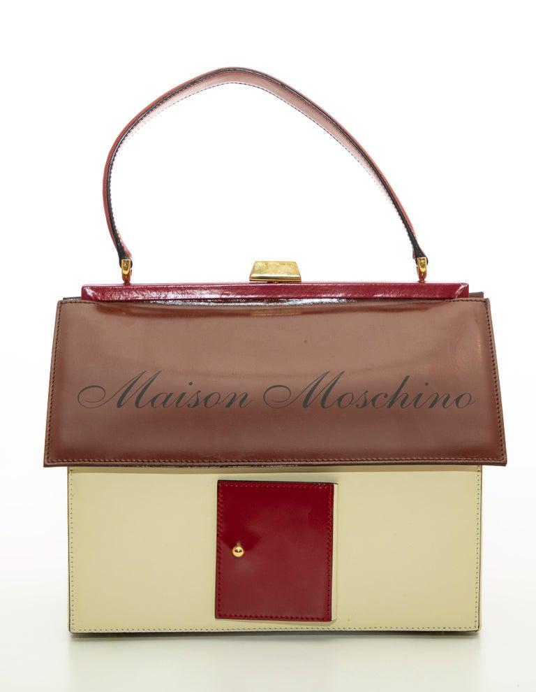 Moschino Haus geformte Griff an der Oberseite Lederhandtasche, ca.: 1991 2