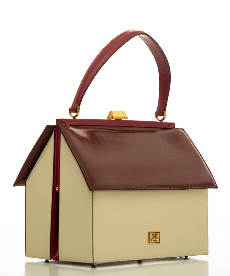 Moschino Haus geformte Griff an der Oberseite Lederhandtasche, ca.: 1991 6