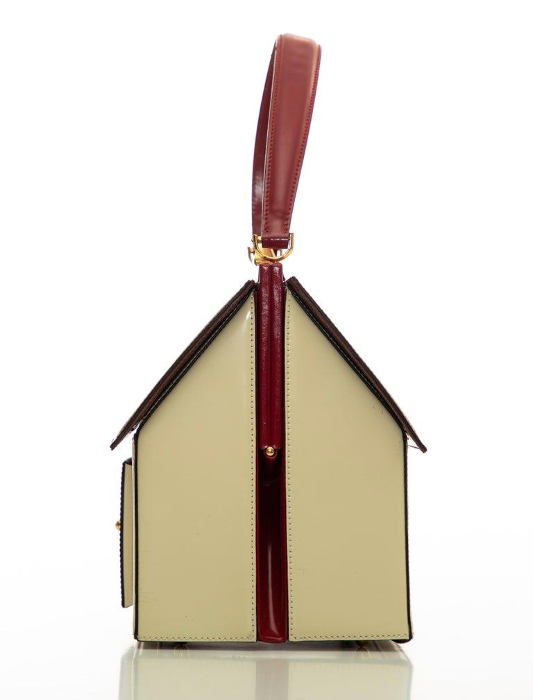 Moschino Haus geformte Griff an der Oberseite Lederhandtasche, ca.: 1991 7