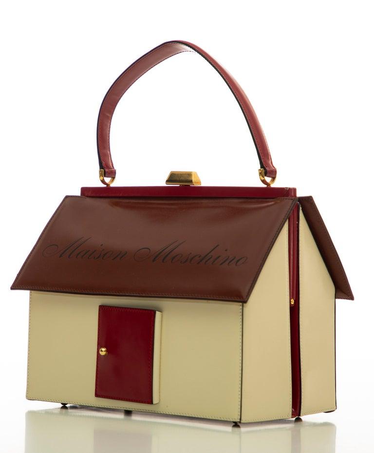 Moschino Haus geformte Griff an der Oberseite Lederhandtasche, ca.: 1991 8