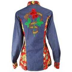 Moschino 'I Love You Very Much' Vintage Embroidered Denim & Cotton Shirt, 1990s