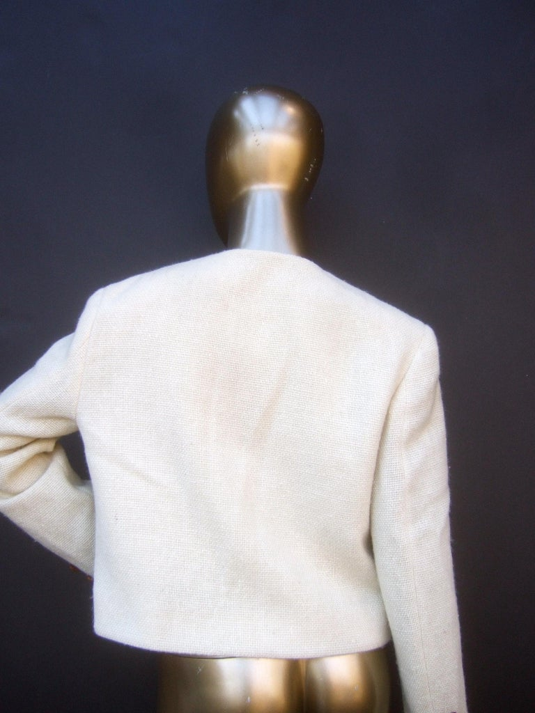 Moschino Italy Cream Laine Wool Wood Heart Button Cropped Jacket c 1990s For Sale 7