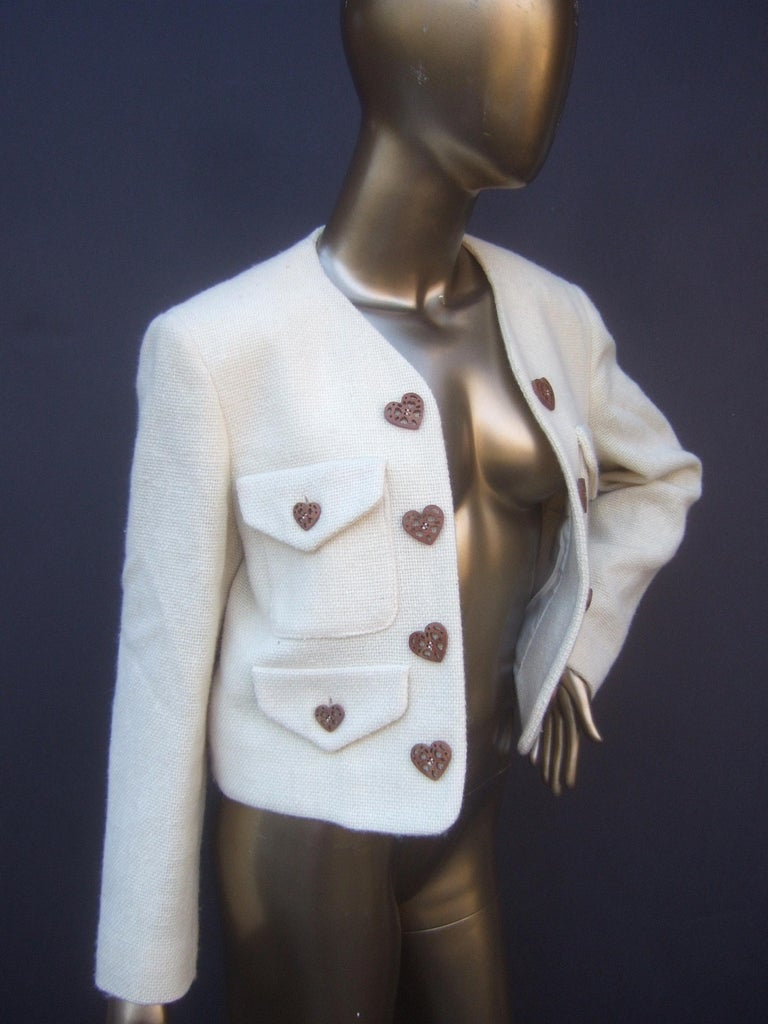 Moschino Italy Cream Laine Wool Wood Heart Button Cropped Jacket c 1990s For Sale 1