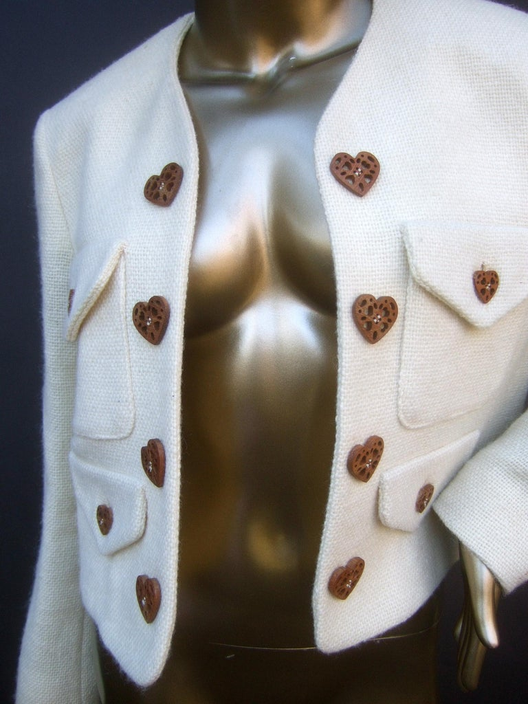 Moschino Italy Cream Laine Wool Wood Heart Button Cropped Jacket c 1990s For Sale 5