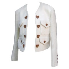 Moschino Italy Cream Laine Wool Wood Heart Button Cropped Jacket c 1990s
