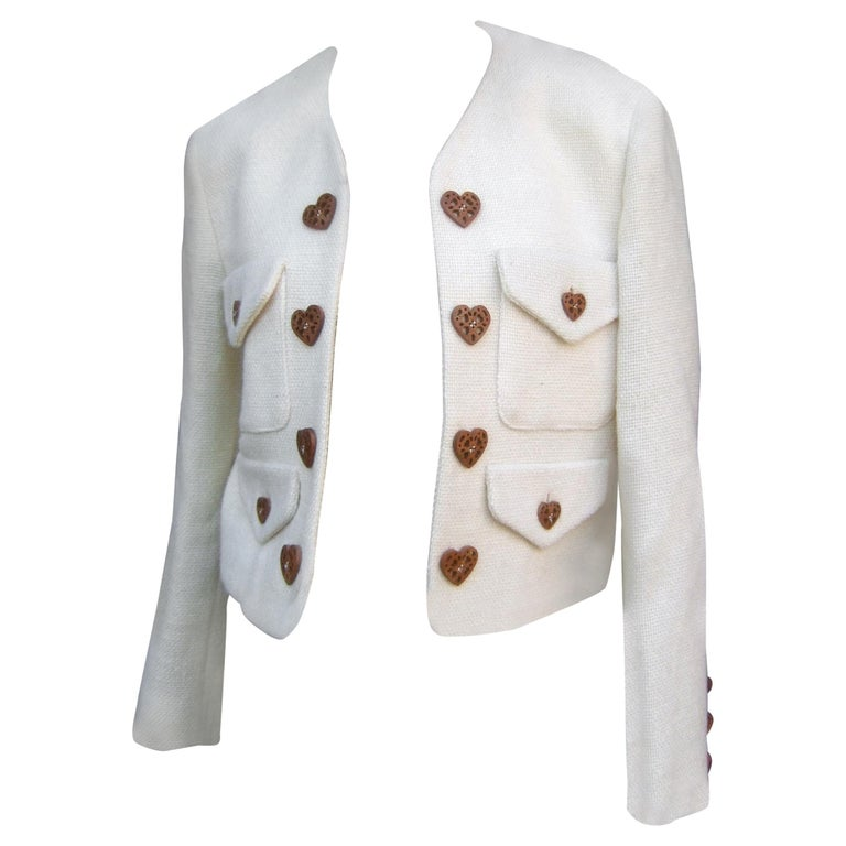 Moschino Italy Cream Laine Wool Wood Heart Button Cropped Jacket c 1990s For Sale