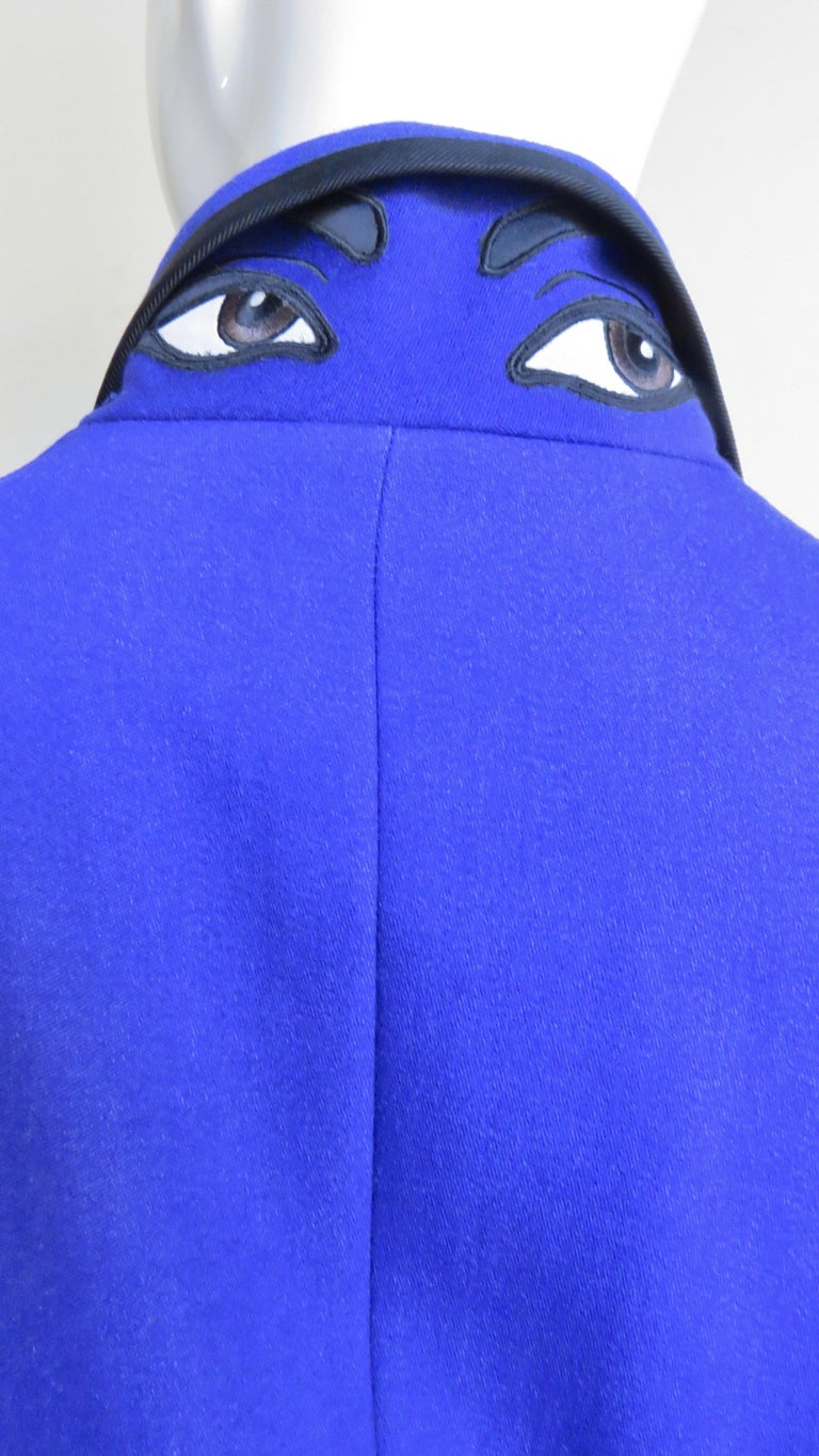 Moschino Pant Suit with Embroidered Eyes in Back For Sale 4
