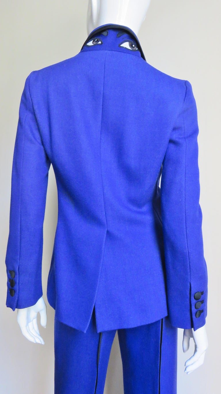 Moschino Pant Suit with Embroidered Eyes in Back For Sale 5