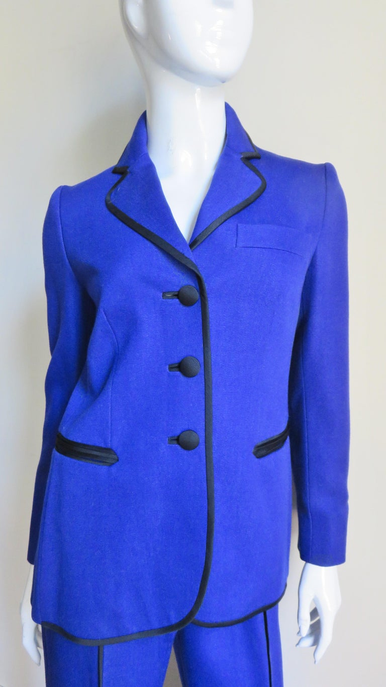 Moschino Pant Suit with Embroidered Eyes in Back In Good Condition For Sale In New York, NY