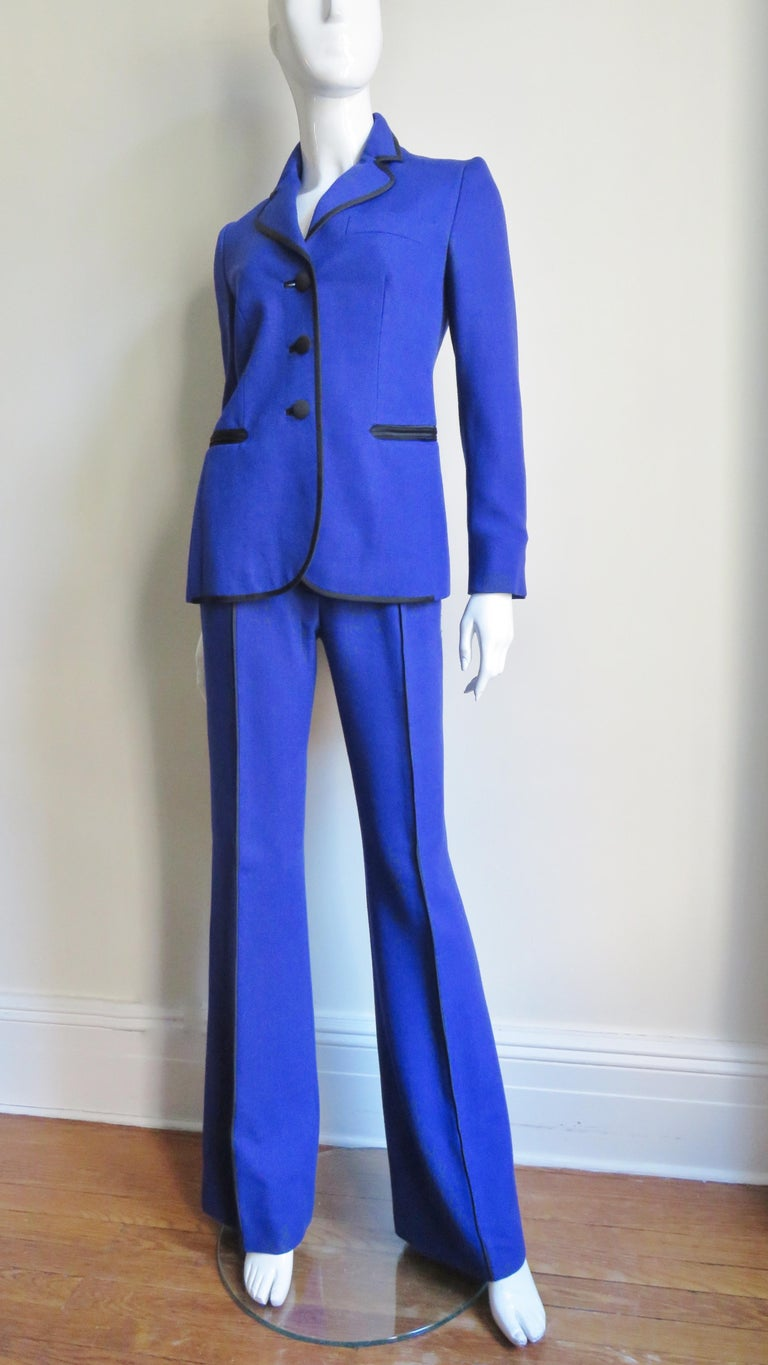 Moschino Pant Suit with Embroidered Eyes in Back For Sale 2