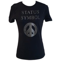Moschino Jeans 1990s Peace Sign Status Symbol Black T-shirt