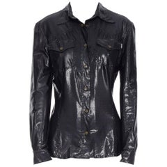 MOSCHINO JEANS black shimmery wet look patched pocket long sleeve shirt S