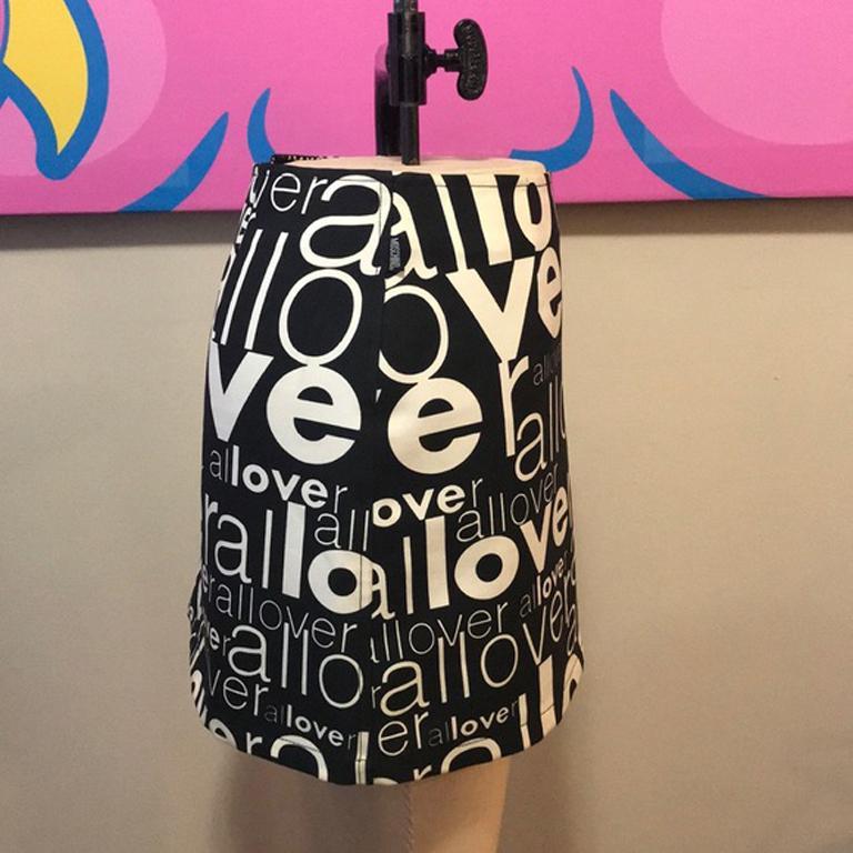 Moschino Jeans Black White Allover Mini Skirt For Sale 1