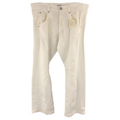 MOSCHINO JEANS Size 32 x 31 White Solid Linen Casual Pants